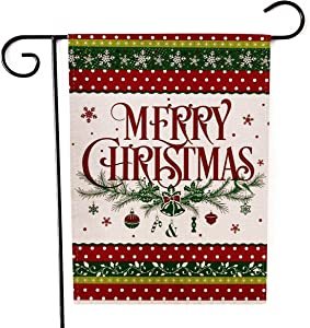 Kissenday Merry Christmas Linen Garden Flag, 12.5 x 18 Inch Vertical Double Sided, Snowflake Bell Xmas Banner Flag Winter Holiday Yard Outdoor Decor