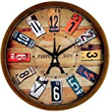 """Elios 12"""" Round Designer Vintage Look Wall Clock with Glass for Home / Kitchen / Living Room / Bedroom (Silent Non Ticking Movement)"""