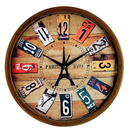 Elios 12quot Round Vintage Wall Clock With Glass For Home Kitchen Living Room