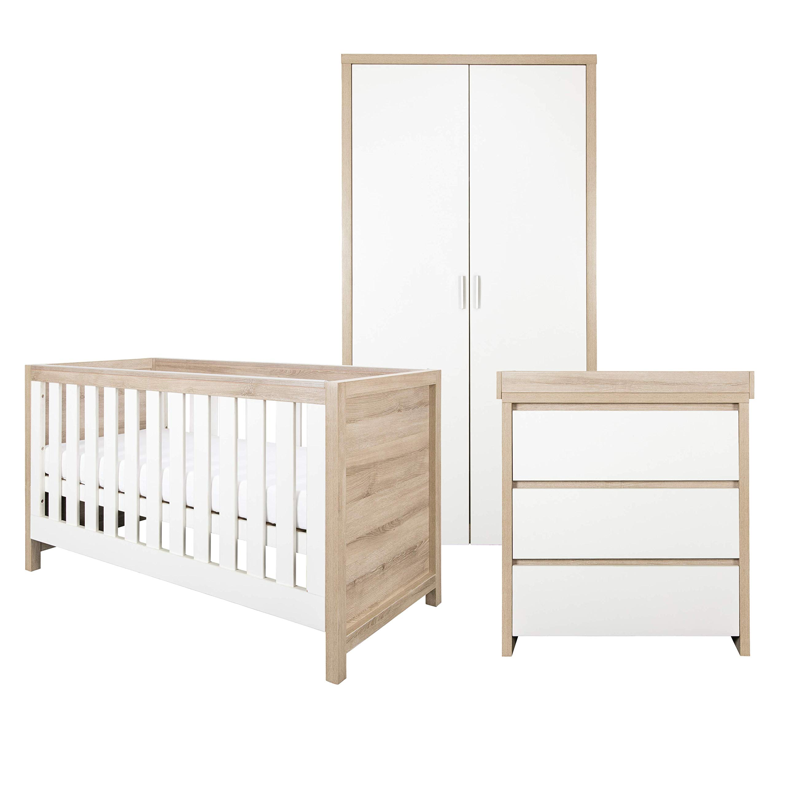 Tutti Bambini Modena Nursery Furniture Set (9 Piece)  Convertible Baby Cot  Bed, Chest of Drawers Changer and Wardrobe Set  Solid Wood Furniture (Oak