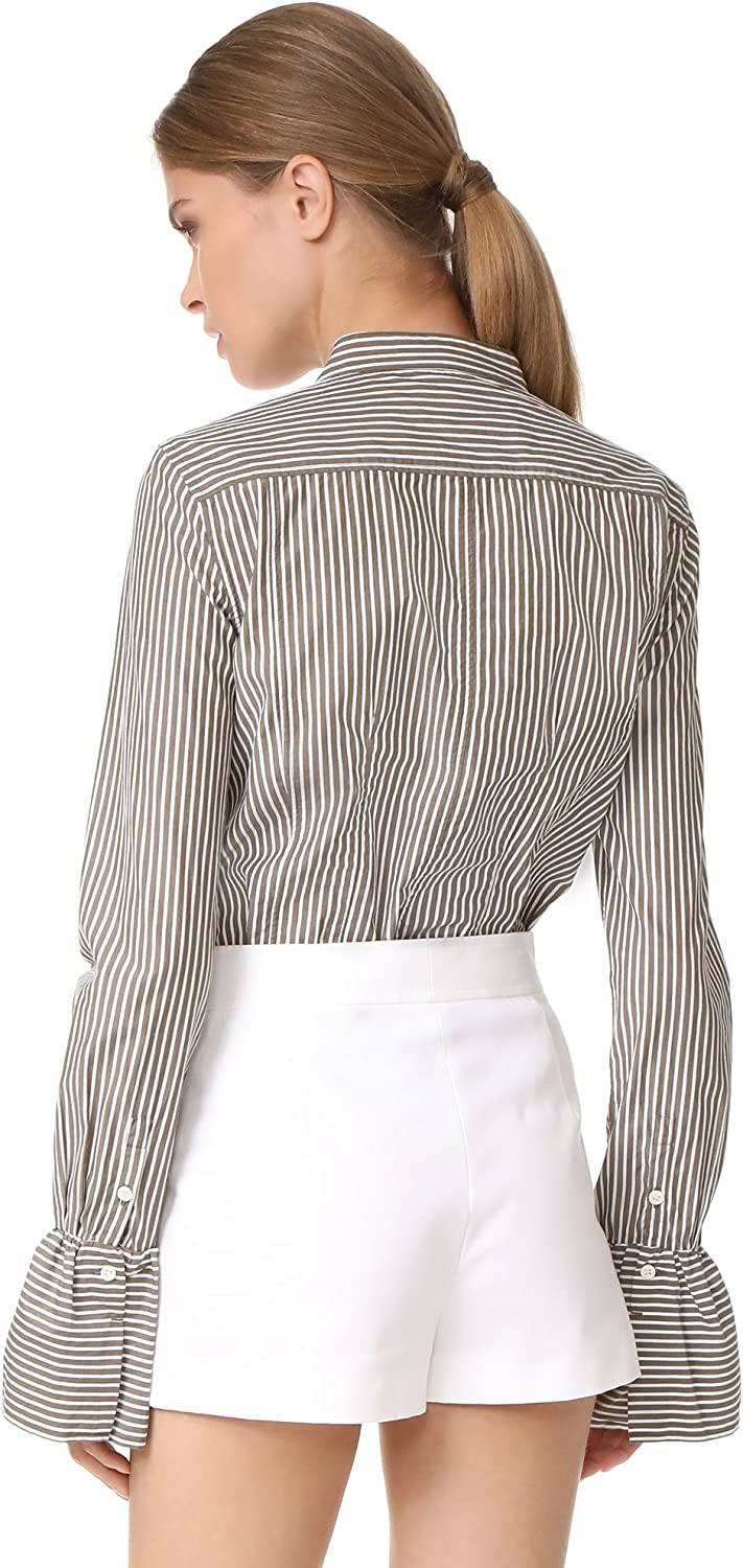 FRAME Womens Striped Fitted Poplin Shirt