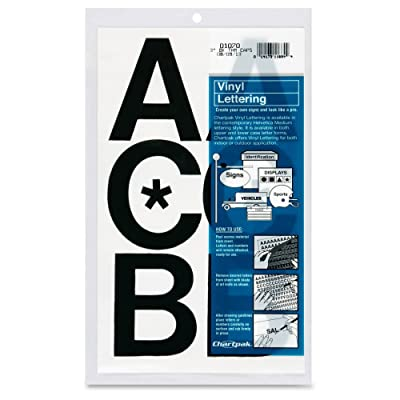"Chartpak Press-On Vinyl Uppercase Letters, Self Adhesive, Black, 3""H, 50/Pack: Kitchen & Dining"