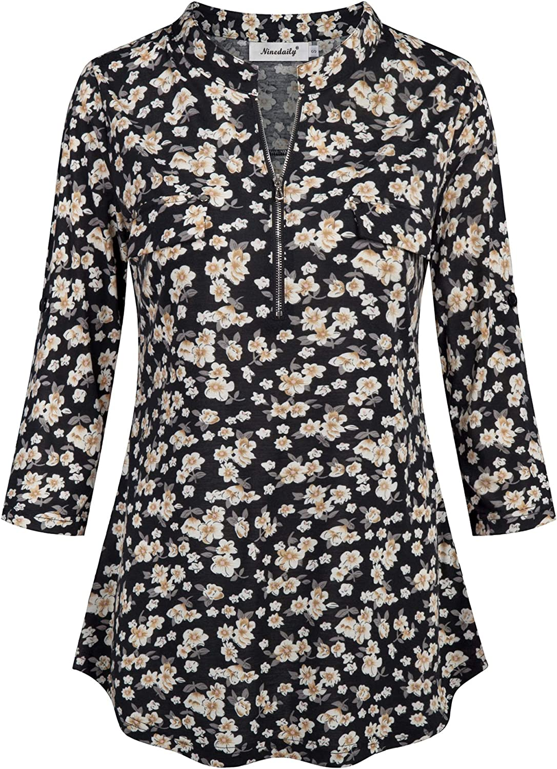 Ninedaily Womens 3//4 Sleeve Roll up Shirts Zip Floral Casual Tunic Blouse Tops