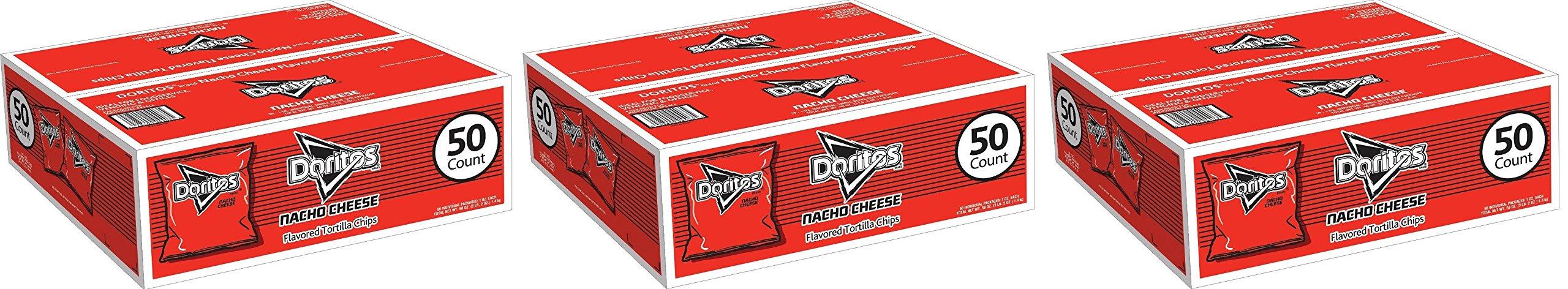 Doritos Tortilla uDJmpQ Chips, Nacho Cheese, 1 Oz Bags, 50 Count, 3 Pack