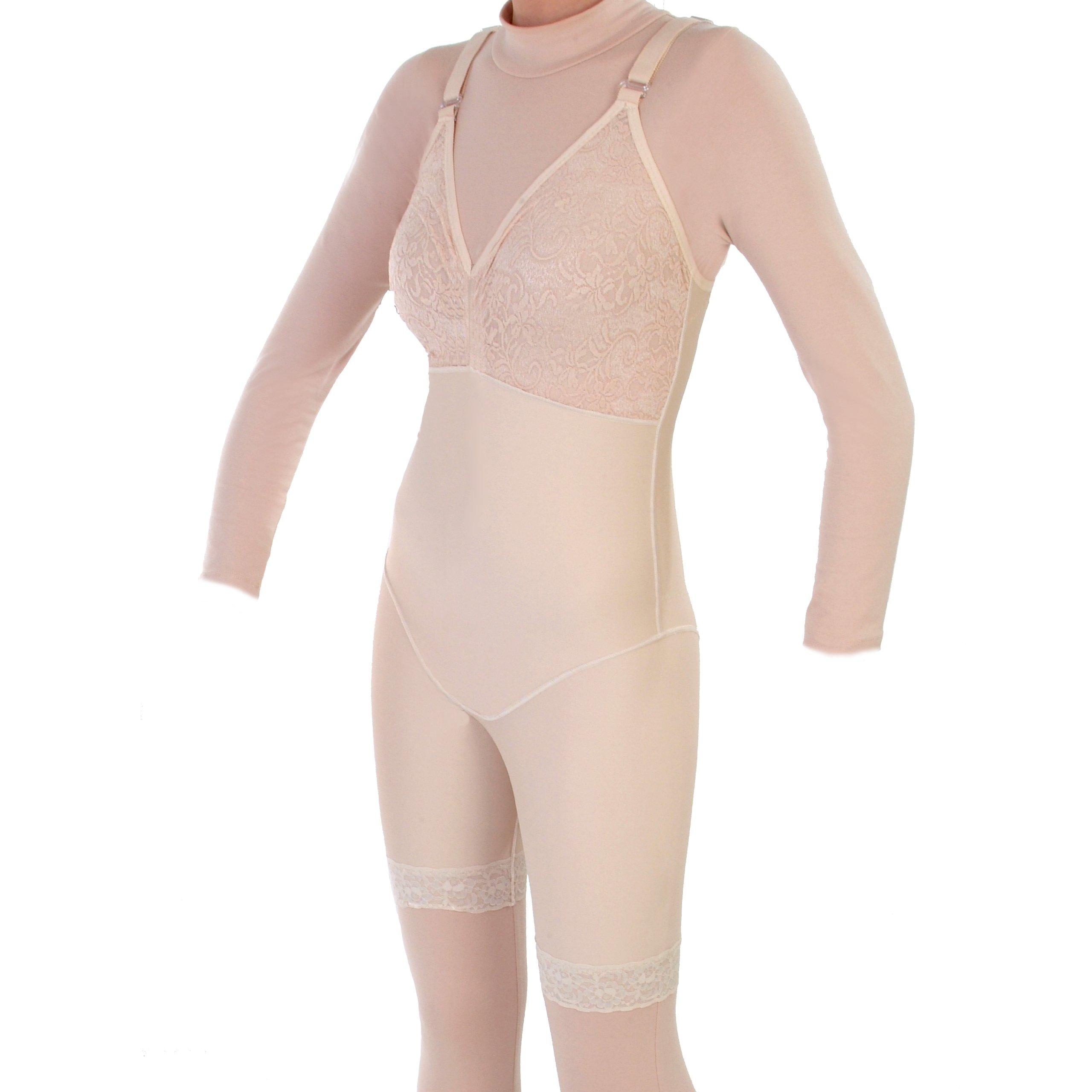Style 27BNZ - Mid Thigh Shaper Bra Top No Zip by Contour | Compression Garments | ContourMD (Medium, Beige)