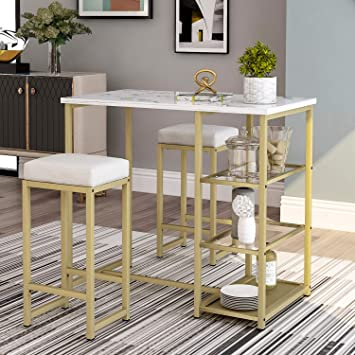 Amazon.com - Merax 3 Piece Modern Counter Height Pub Set With And Shelf Storage, Kitchen Bar Table Set With Faux Marble Countertop Metal Frame And 2 PU Upholstered Bar Stools - Table