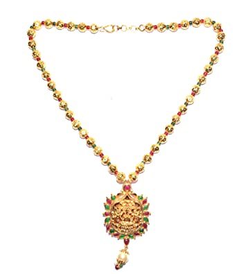 Buy RMR 1gm Gold Plated temple jewellery with gold balls Chain
