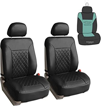 DEF Black Pu Leather Premium Car Seat Back Storage Bag Rear Seat Protection Pad and Cup Holder Bracket Universal Seat Cover
