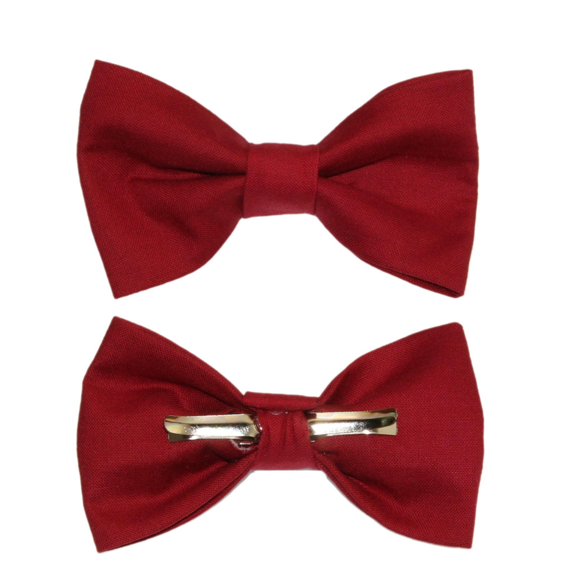 Boys Wine Red Clip On Cotton Bow Tie Dark Red Bowtie amy2004marie