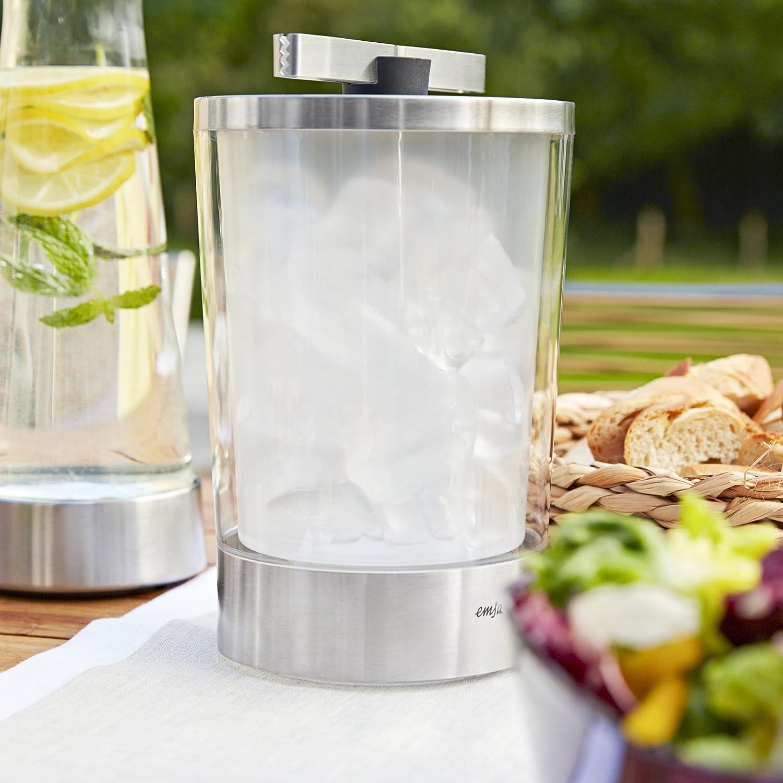 Edelstahl//Transparent EMSA 514235 Flow Slim Eiswürfelbehälter