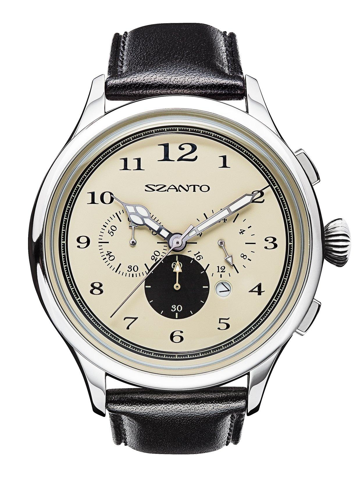 Szanto Unisex SZ 2402 Szanto 2400 Series Analog Display Japanese Quartz Black Watch