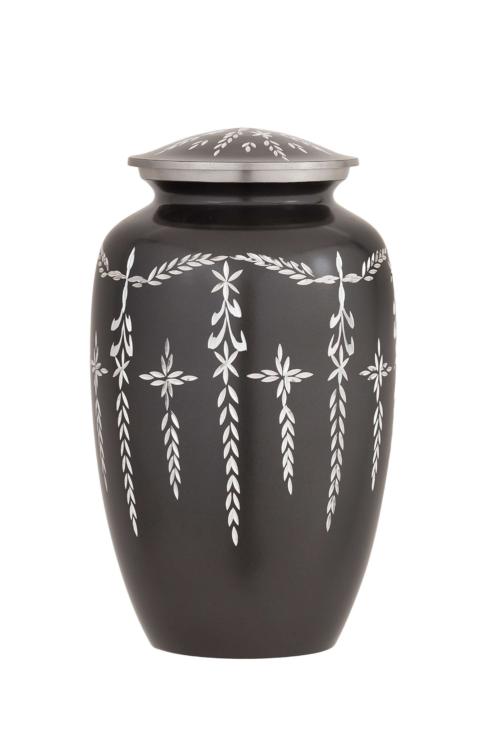 Enshrined Memorials Cremation Urn for Ashes - Nyx Series Affordable Solid Aluminum Metal Quality Handcrafted for Human Funeral Burial Large 10 inch, Slate Gray Diamond Cut