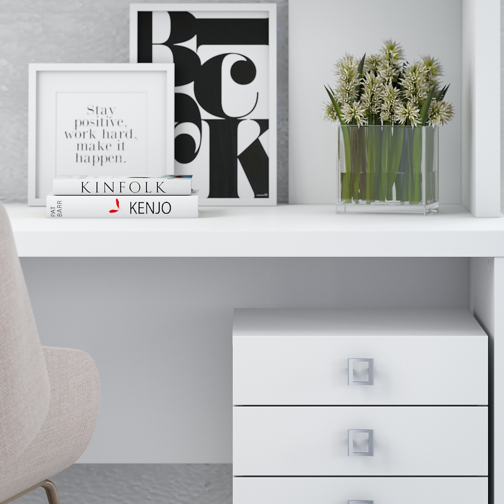 Office by kathy ireland Echo L Shaped Desk with Hutch and Mobile File Cabinet in Pure White by Office by kathy ireland (Image #3)