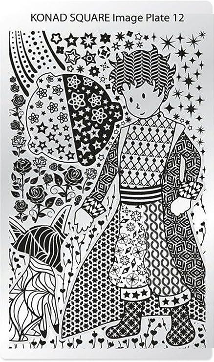 c12 Placa de Diseños Rectangular Konad Original. Plantilla para uñas Square Image Plate Konad España.: Amazon.es: Belleza