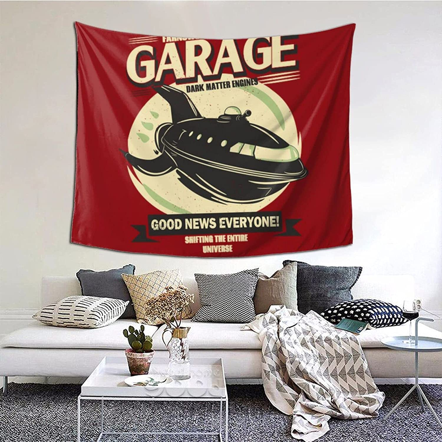 Futurama Planet Garage Tapestry Wall Hanging Home Decor Art For College Dorm Bedroom Living Room Home Decor 60x50 Inches