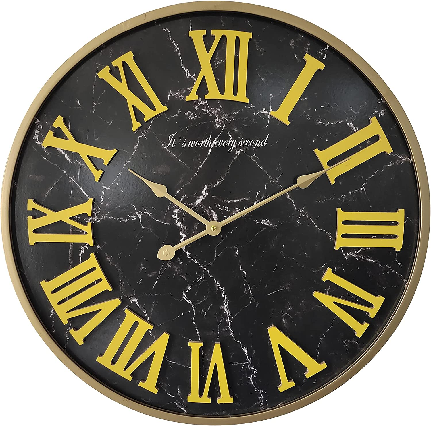 24 inch Wood & Metal Frame Large Decor Wall Clock Decorative Clocks for Living Room,Oversized,Black Marble Texture,Thick and Heavy 5.7 lbs