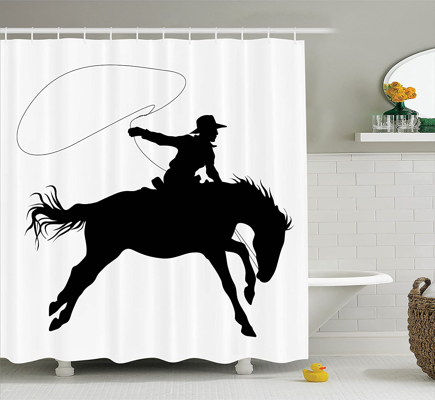 Amazon.com: Ambesonne Cartoon Decor Collection, Silhouette of Cowboy ...