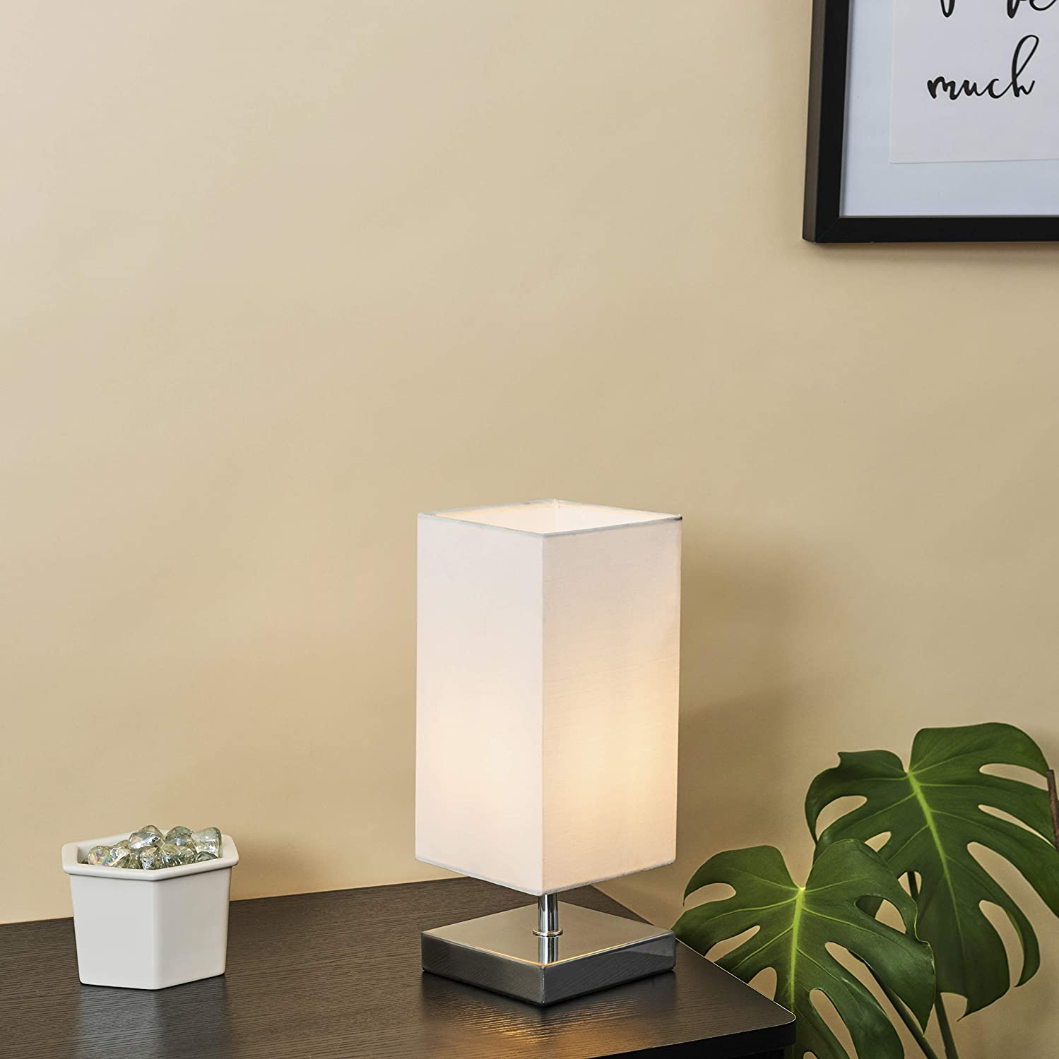 Modern Square Polished Chrome Touch Table Lamp with a Pink Shade
