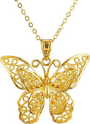 Amazon.com: kelistom Big Butterfly Pendant Necklace for Women Girls, 24k Real Gold Plated Hollow Layered Butterfly Link Chain Wedding Birthday Gifts: Jewelry