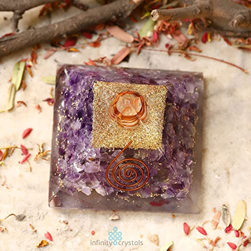 7 Chakra Pyramid with Healing Crystals and stones for Stress Relief Pure Amethyst Orgonite for EMF Crystal Protection, Wealth Prosperity – Energy Generator with Quartz, Copper and Rose Gold.