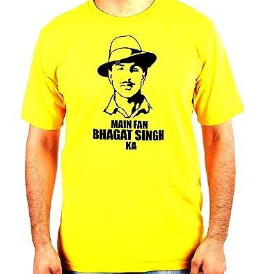 b532590ace Printvastra MAI Fan BHAGAT Singh KA ||Printed Round/Crew Neck Men's Black Cotton  T-Shirt: Amazon.in: Clothing & Accessories