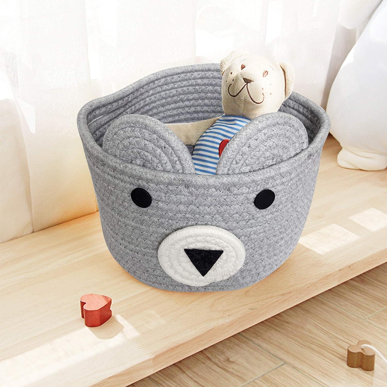 OYHOMO Cotton Rope Storage Basket Woven Bear Basket Small Storage Container Baby Nursery Hamper Office Desk Organizer Home Decor Grey