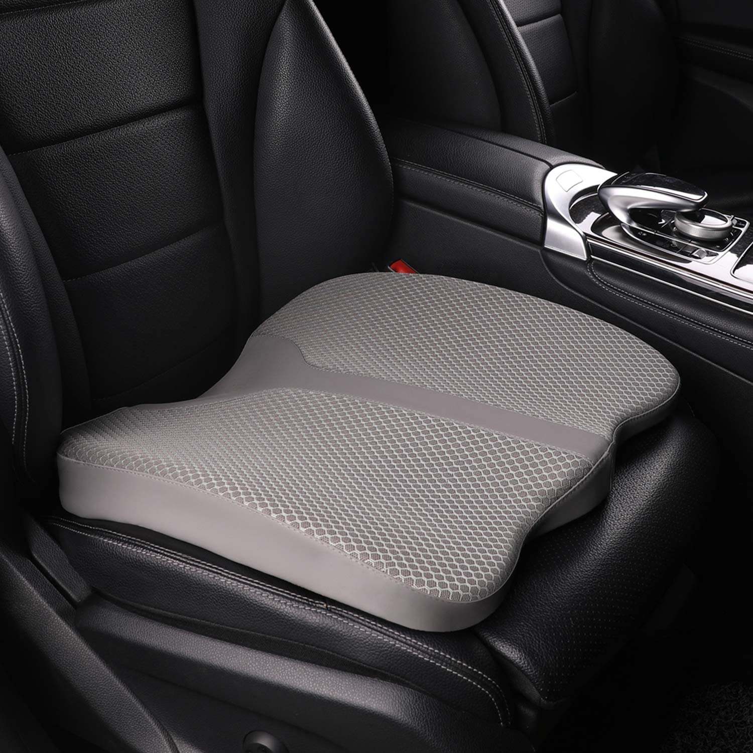 larrous car memory foam heightening seat cushion tailbone coccyx and lower back pain relief cushion for office chair wheelchair and more gray