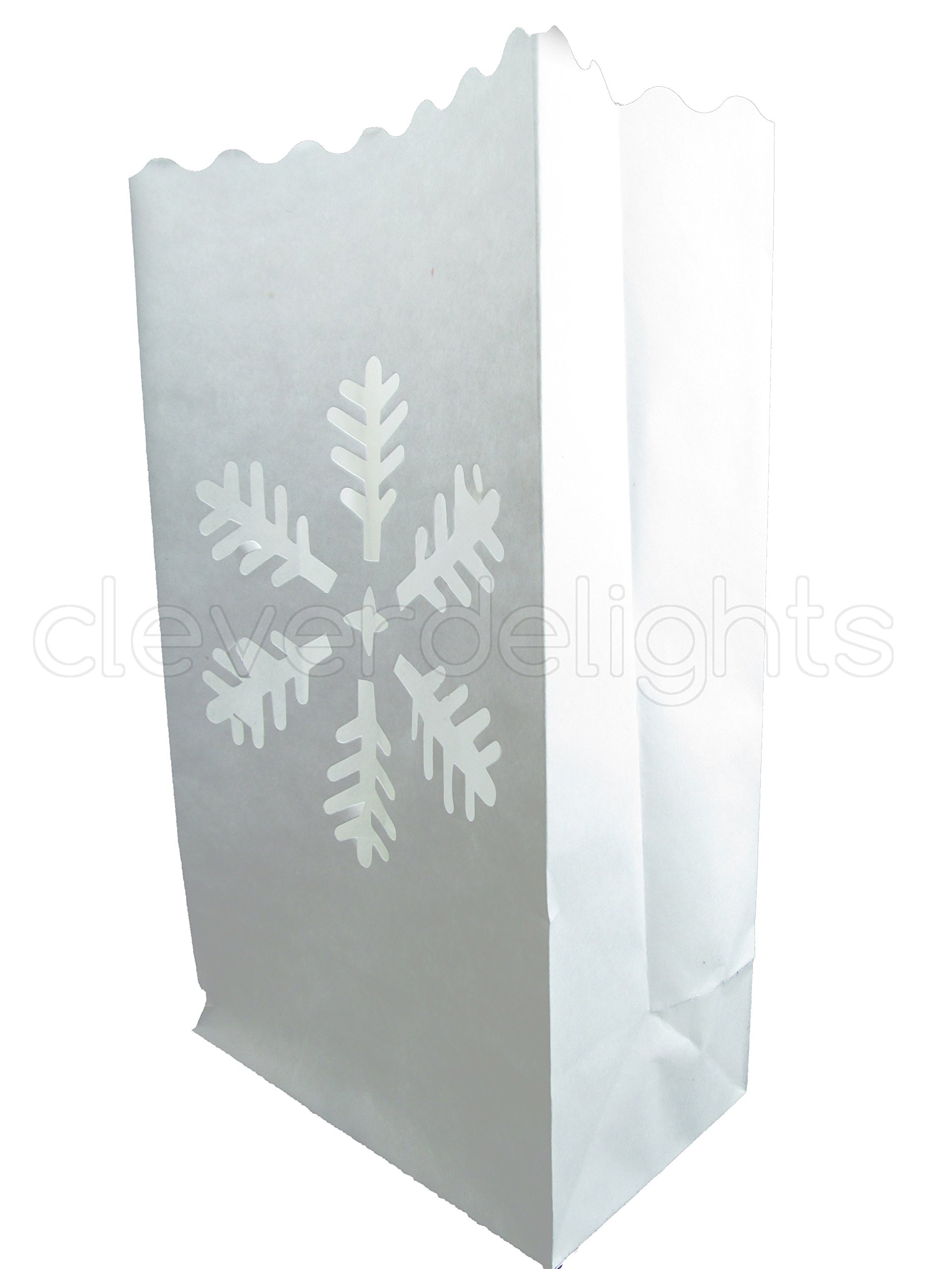 CleverDelights White Luminary Bags - 20 Count - Snowflake Design - Flame Resistant Paper - Christmas Holiday Outdoor Decorations - Party and Event Decor - Luminaria Candle Bag - Twenty Bags