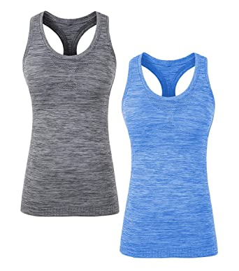 7a9fc1bfd0ed6 YAKER Women s Active Fitness Workout Soft Stretch Racerback Yoga Tank Top  Shirt (S Fit for