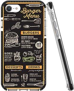 Rose Lake Food Phone Case for iPhone SE 2020 iPhone 8 iPhone 7 Cover, Black Burger Menu Pattern Girls Boys Men Women Protective Back TPU Shockproof Bumper Case 4.7-inch
