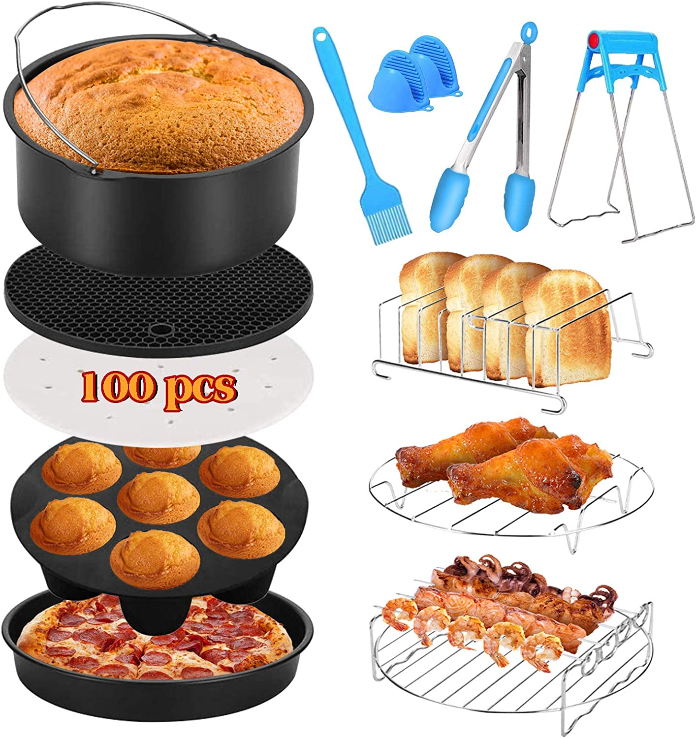 CrownVirt Air Fryer Accessories Set of 12 Fit All 4.2Qt-5.8Qt Air Fryers,With 7 Inch Cake Pan, Pizza Pan,Skewer Rack,Patty paper (100pc).Non stick pot,Safe And Harmless,Can Put in Dishwasher -Black.