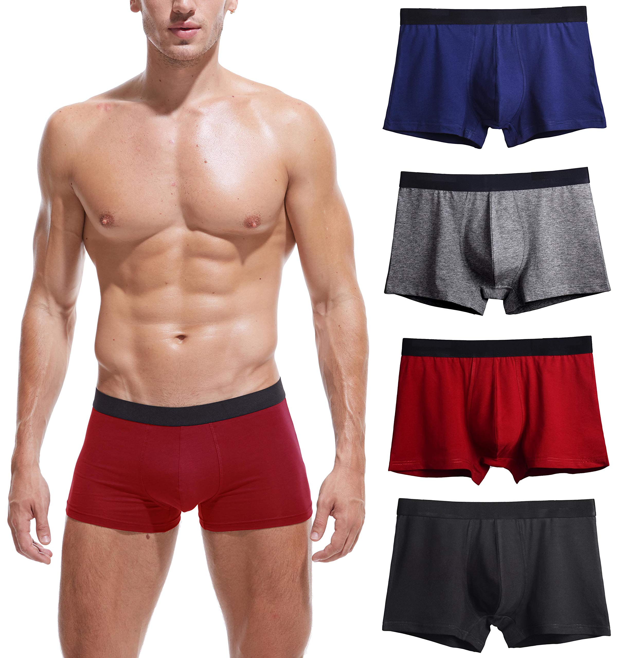 2761217113c4f5 Men's No Ride-up Boxer Briefs Stretch Comfortable Breathable Cotton  Underwear 4 Pack product image