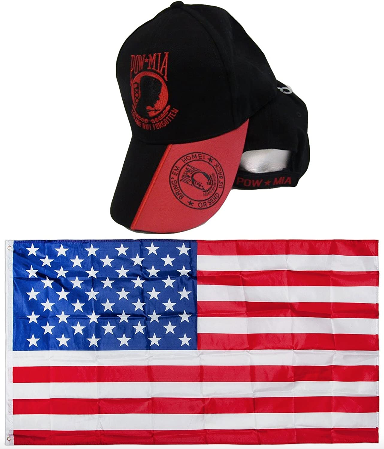 POWMIA POW MIA Red Black Bring Them Home or Send Us Back Embroidred Hat Cap & USA Flag 3x5 Super Polyester Nylon Flag 3'x5' House Banner Grommets Double Stitched Premium Quality