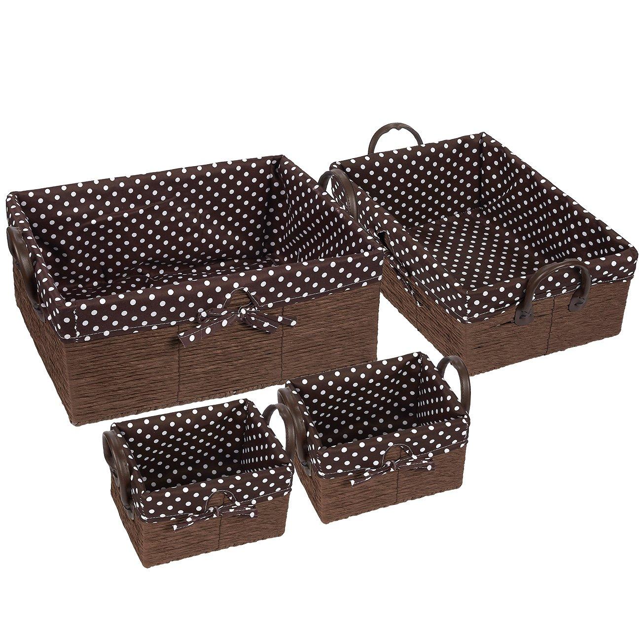 Fabric Storage Container – 4-Piece Utility Storage Baskets with Faux Leather Handles - Storage Cube Nesting Baskets, Decorative Organizing Baskets for Shelves – White Polka Dots on Brown Lining