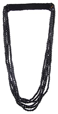 Tribes India Black Beads Multi-Strand Necklace for Women (1TJWNCKDL00787)