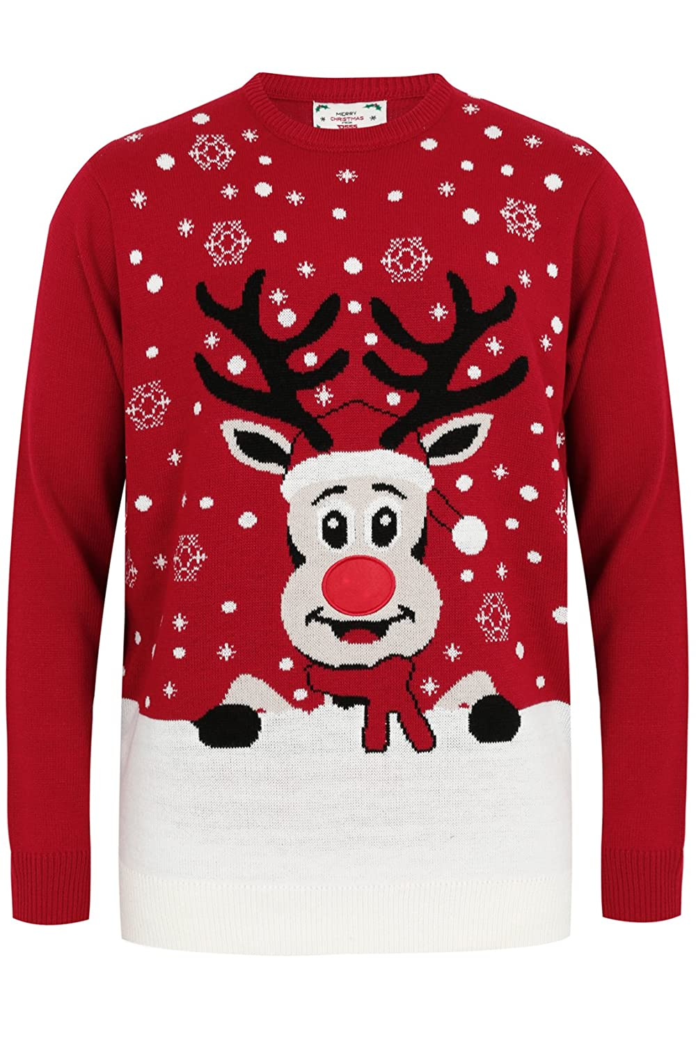Yoursclothing Mens D555 & Multi Rudolph Christmas Jumper