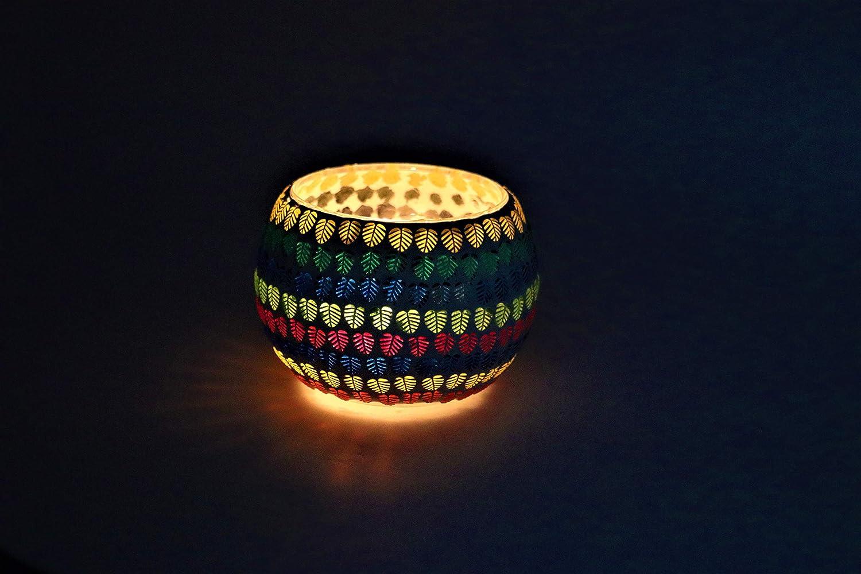 con intricato Design in Vetro per caminetti 10,2 x 10,2 cm Decorazione per Interni ed Esterni Harold /& Hawkins Portacandele in Vetro a Mosaico Realizzato a Mano e Dipinto a Mano Design 7