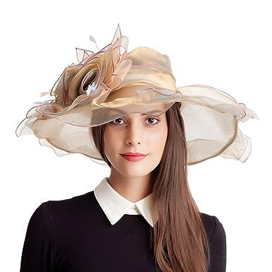 b69fac2d63bae Women s Kentucky Derby Hats Bridal Fascinator Wide Brim Easter Church  British Tea Party Wedding Hats (