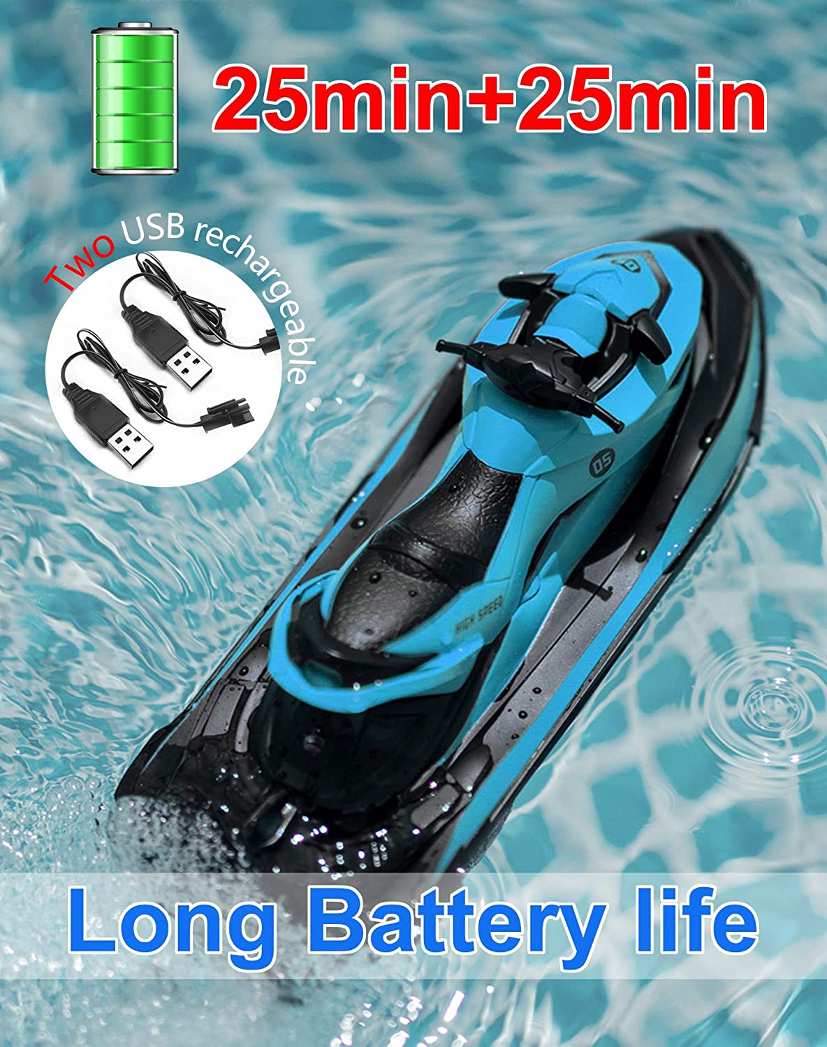 IOKUKI 2.4G RC Boat Blue Remote Control Boat for Kids and Adults for Lakes and Pools with 2 Batteries /& 2 Charger Cables /& Low Battery Prompt Motor Boat