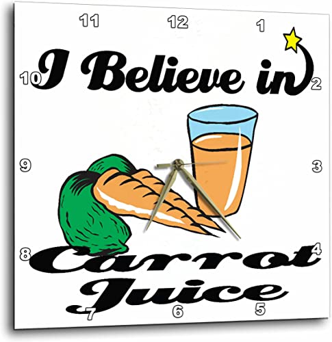 3dRose DPP_104959_3 I Believe in Carrot Juice-Wall Clock, 15 by 15-Inch