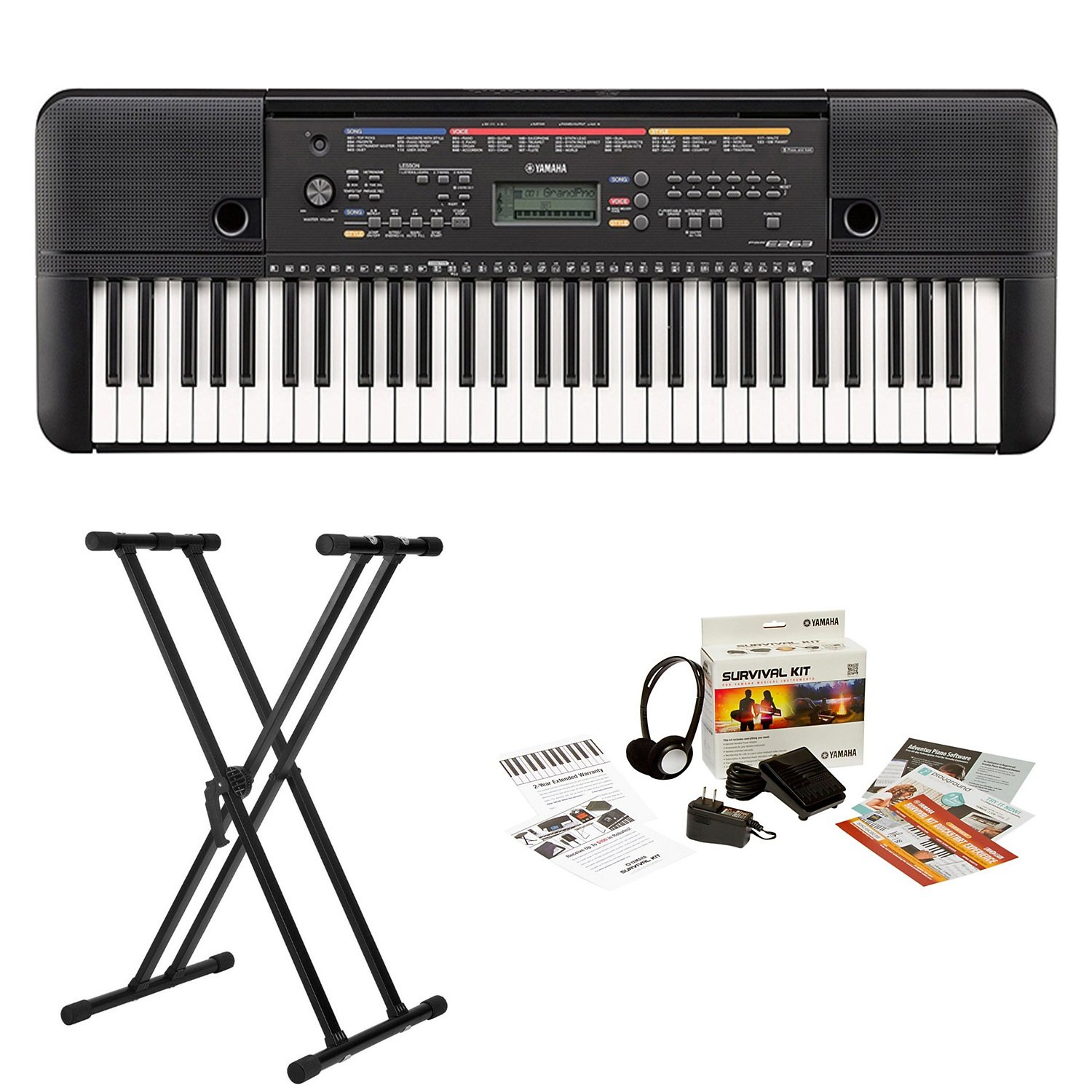 Yamaha PSRE263 61-Key Portable Keyboard with Knox Stand and Survivalkit (Includes Power Supply and 2 Year Warranty)