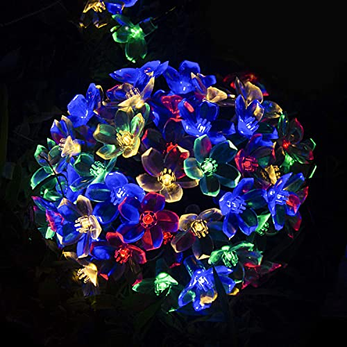 Solar String Lights,50 LED Solar Fairy Lights , 32 FT Ultra Long Solar Garden Lights,2 Modes Solar Flower Lights for Outdoor, Home, Lawn, Wedding, Patio, Party and Holiday Decorations-2pack