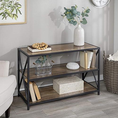 Walker Edison 2 Tier Open Shelf Industrial Wood Metal Bookcase Tall Bookshelf Home Office Storage