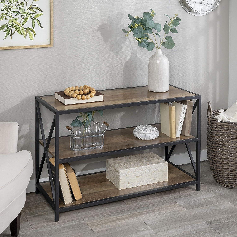 "WE Furniture Wood Media Bookshelf in Rustic Oak - 40"""