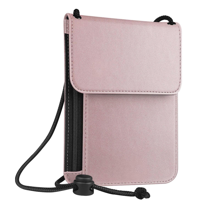 Fintie Passport Holder Neck Pouch [RFID Blocking] Premium PU Leather Travel Wallet, Shades of Blue