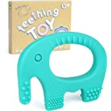 Baby Teething Toys - BPA Free Silicone - Easy to Hold, Soft, Bendable, Highly Effective Elephant Teether, Best Freezer, Cool Girl Boy 3 6 12 Months 1 Year Old Stocking Stuffers