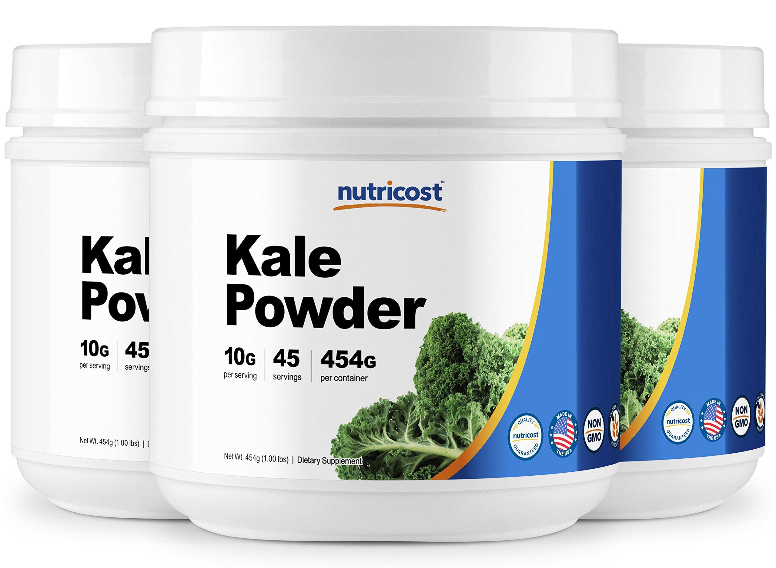 Nutricost Kale Powder 1LB (3 Bottles) - All Natural, Non-GMO, Gluten Free, Pure, Premium Kale