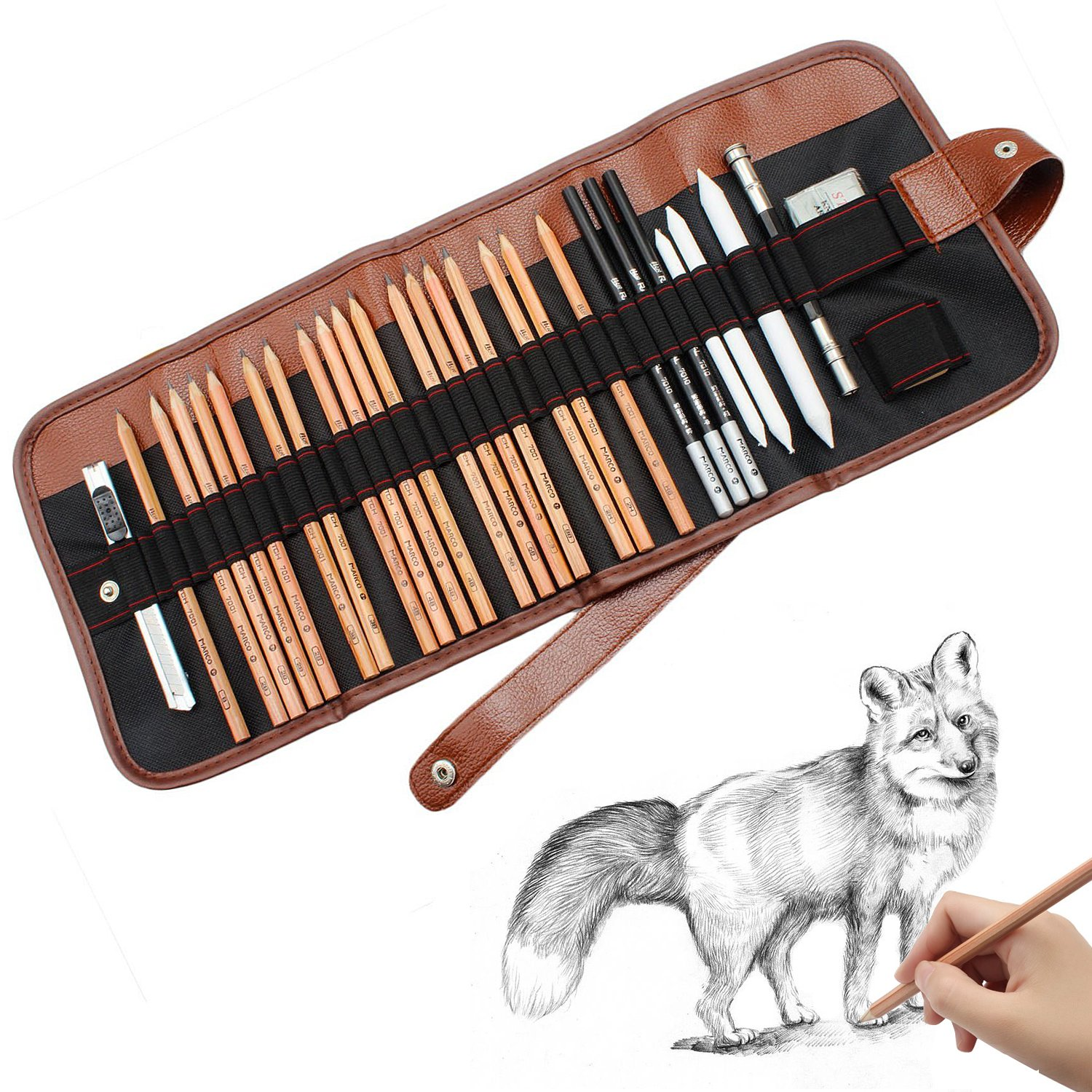 Caroyla sketch pencil drawing pencil set 29 piece sketching art kit for beginners sketch graphite pencils erasers craft knife pencil extender for