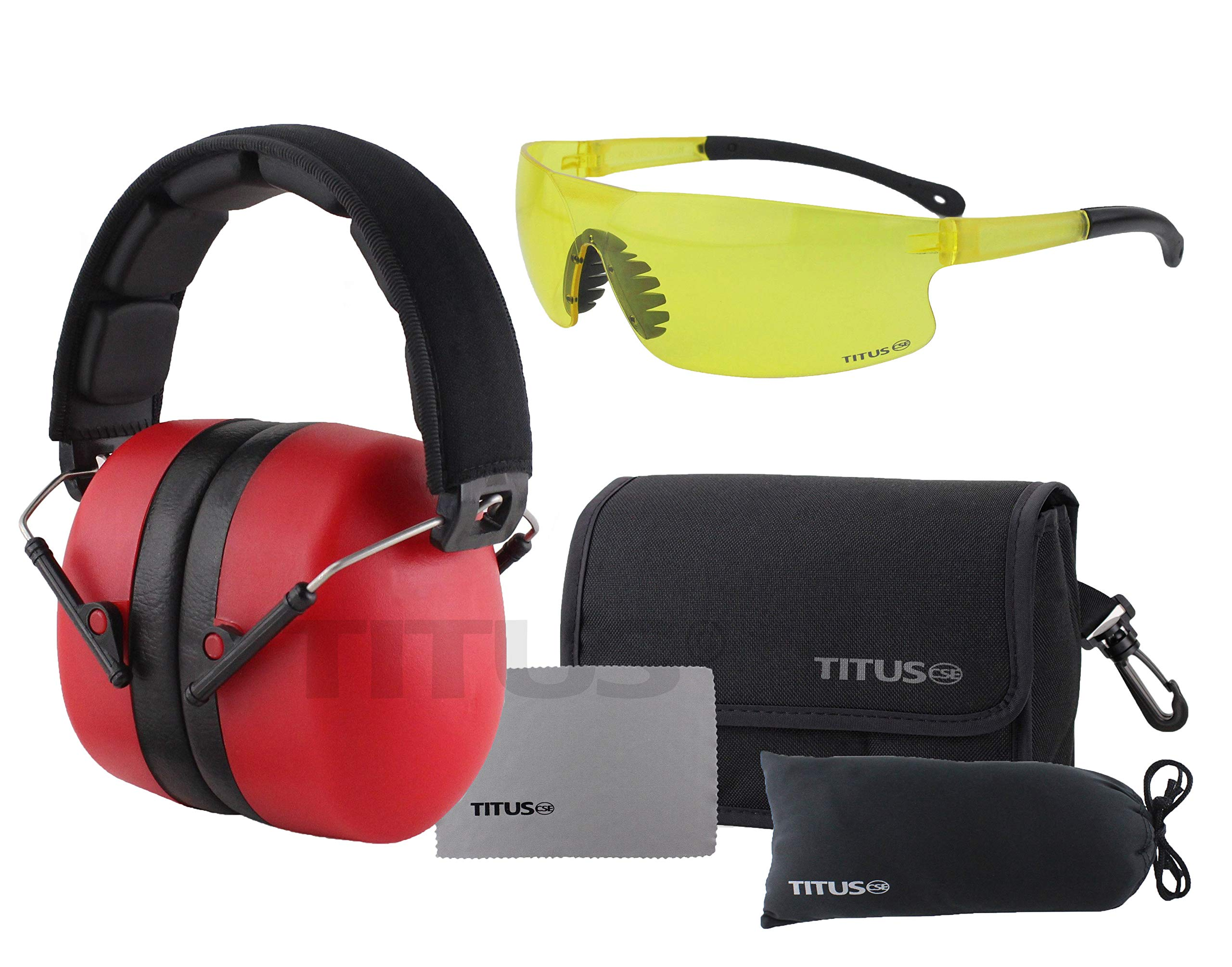 Titus 3 Series - 37 NRR Noise Reduction Hearing Protection & G45 Z87+ Safety Glasses Combos (Red, Yellow) by Titus