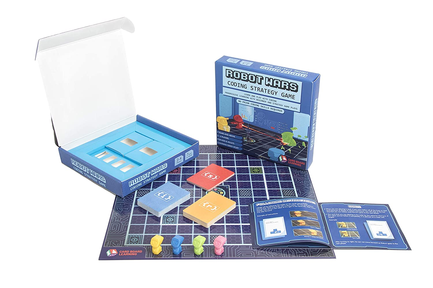 Case Blue Board Game : Robot wars coding board game learn and play with computer